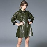 High End Europe Fashion PU Leather Complex Thicken Dress Turn Down Collar Dark Green Color Retro