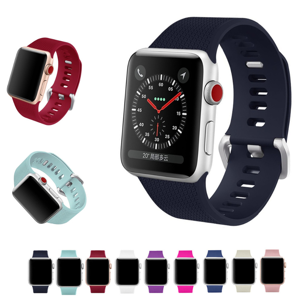 Sport bracelet for apple watch band strap 42mm 38mm iWatch 3 2 1 silicone wrist band belt watchband with metal Classic Buckle 6 colors luxury genuine leather watchband for apple watch sport iwatch 38mm 42mm watch wrist strap bracelect replacement