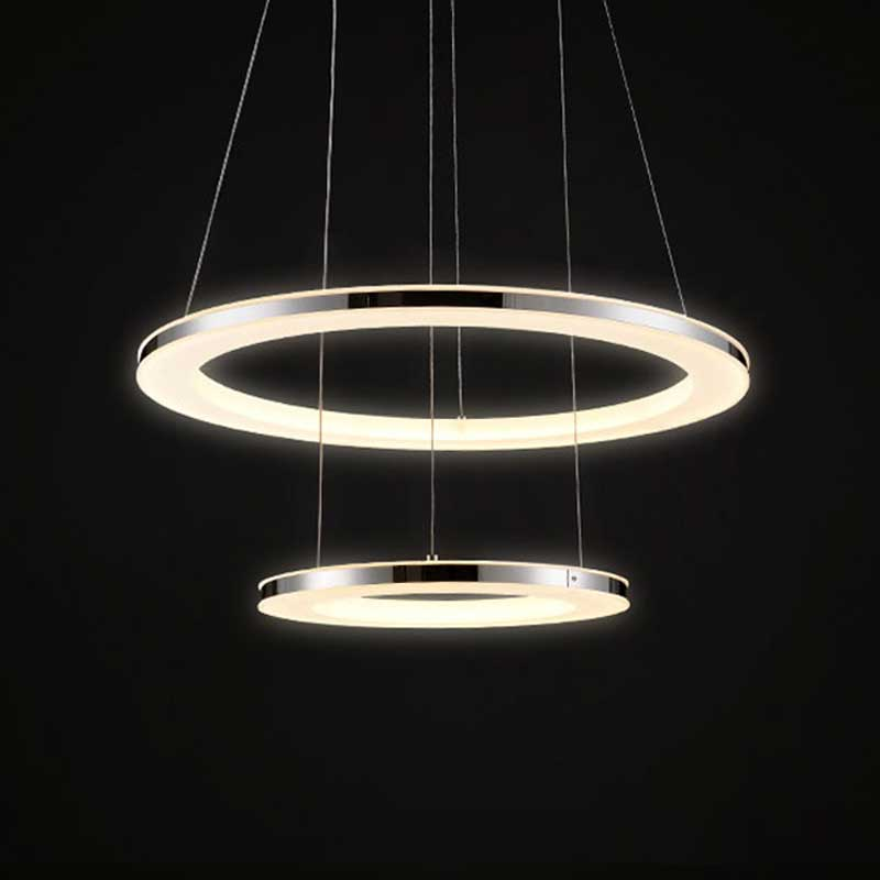 Modern Circle Pendant Lights Fixtures For Living Dining Room Restaurant Deco Home Acrylic Rings Hanging Lamp With Remote Lustre