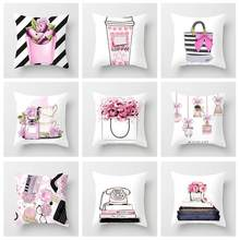 Home Textile Cushion Cover Geometric Nordic Pink Pillow Cover Square Polyester Cushion Case Sofa Bed Decorative Pillowcase(China)