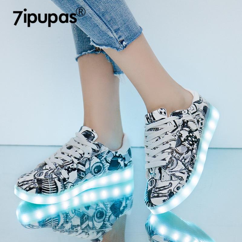 7 ipapas 27-44 USB de carga de moda LED zapato 2018 nuevo Graffiti zapatilla de deportiva brillante para chico chica unisex luminosas zapatillas de deporte