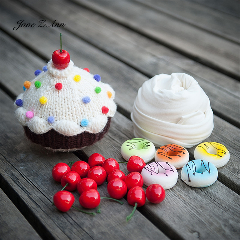 Jane Z Ann Cute Newborn photo props baby  cake  theme costume doughnut hat cherry prop wrap studio shooting accessories 1