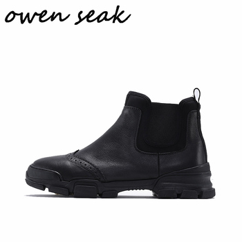 Owen Seak Men Chelsea Boots High Ankle Luxury Trainers Genuine Leather Sneaker Winter Snow Boots Casual Flats Shoes