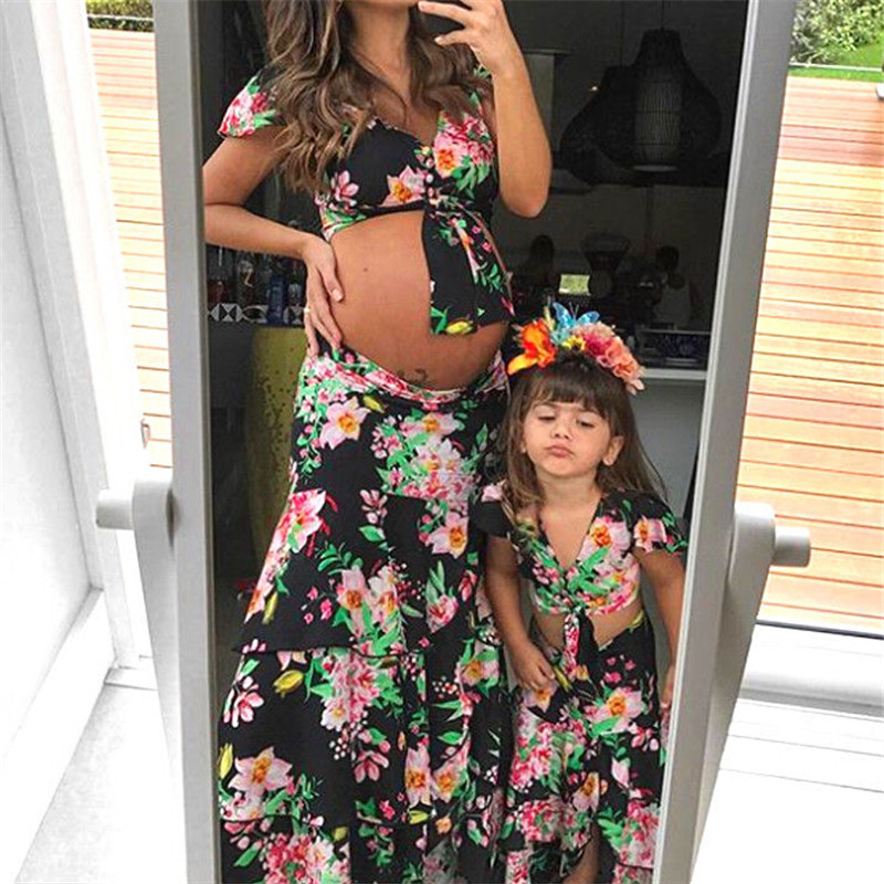 2018 Mother And Daughter Clothes Family Matching Clothes Women Baby Girl Crop Top T-shirt Skirt Parent-child Outfits Family Look