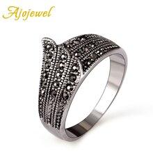 Ajojewel #7-9 Brand Elegant Retro Rhinestones Finger Rings Wing Black Rings For Women Vintage