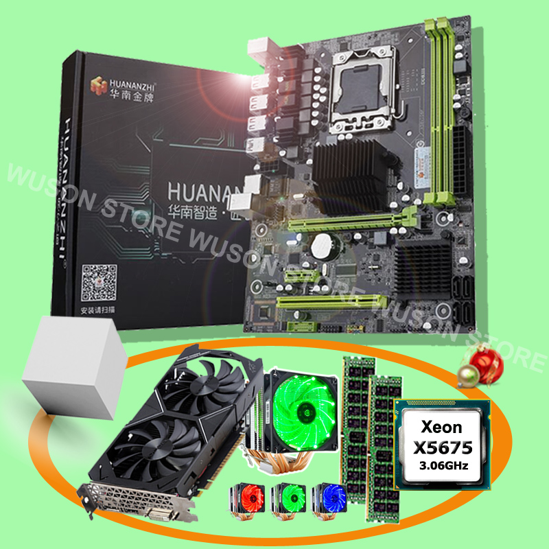 Discount Computer DIY HUANANZHI X58 Pro LGA1366 Motherboard With CPU Intel Xeon X5675 RAM 32G(2*16G) Video Card GTX1050Ti 4GD5