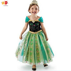 AD Frozen Princess Elsa Girls Dress Birthday Party Performance Costume Kids Dresses Children's Clothing