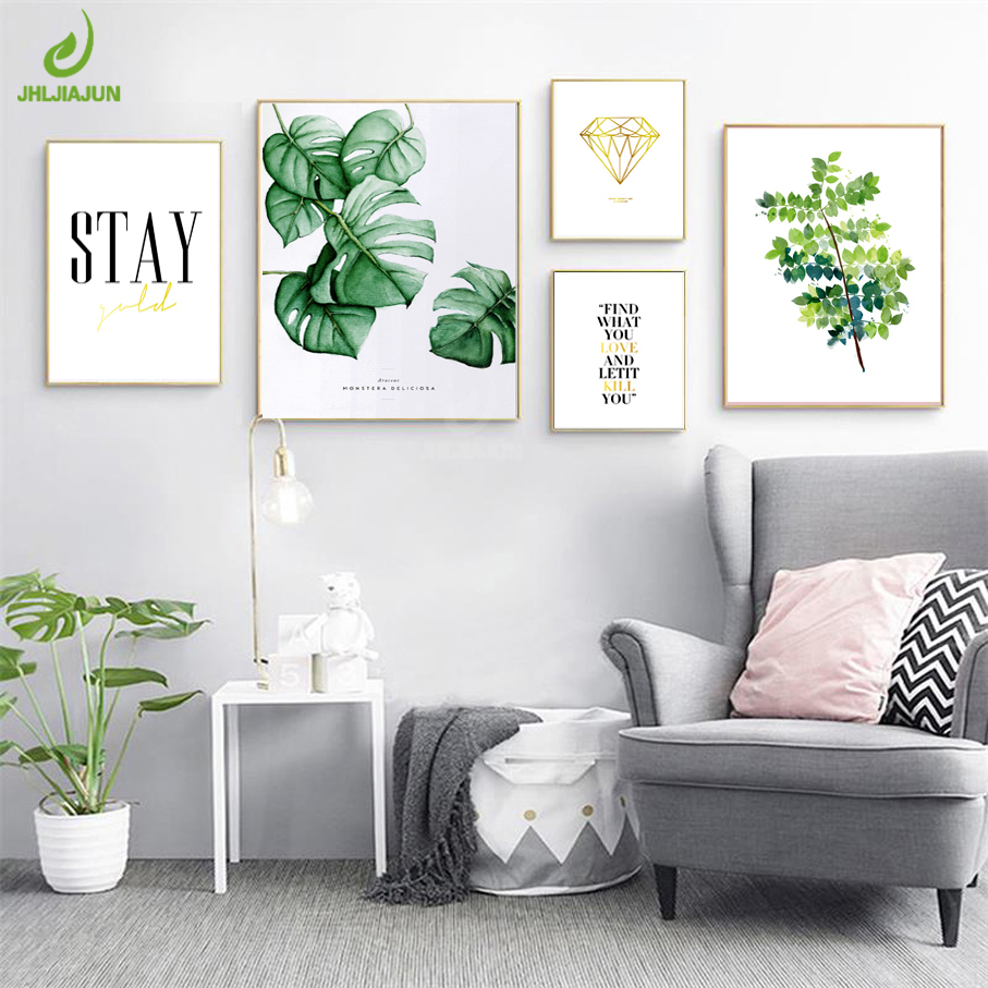 JHLJIAJUN Nordic Minimalist Canvas Poster Quotes Green Tropical Plants Palm Leaves Canvas Wall Picture Living Room Home Decor