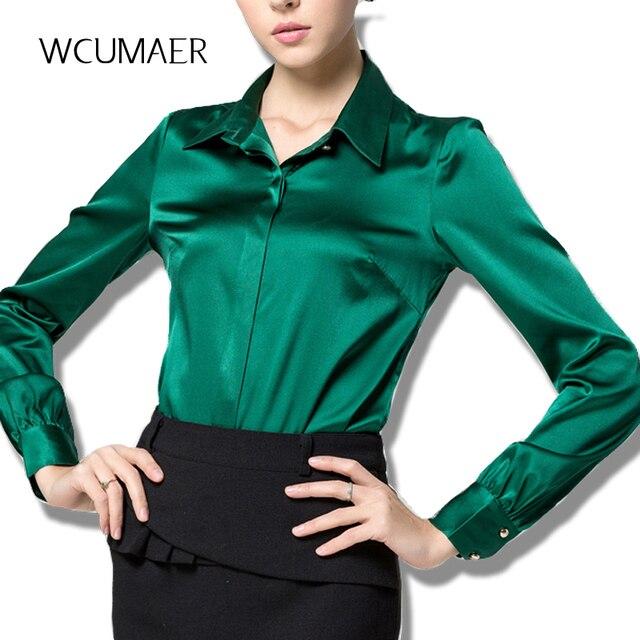 new york 74e92 7282c US $24.0 40% di SCONTO S XXXL raso di seta camicetta di seta delle signore  di Modo delle donne camicetta camicia casual ufficio Verde Bianco Nero ...