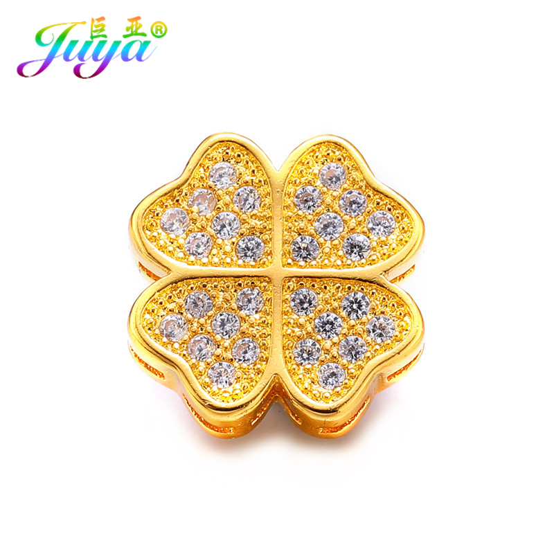 DIY Beadwork Jewelry Material Gold/Silver Lucky Clover Decorative Metal Charm Beads Accessores For Needlework Jewelry Making