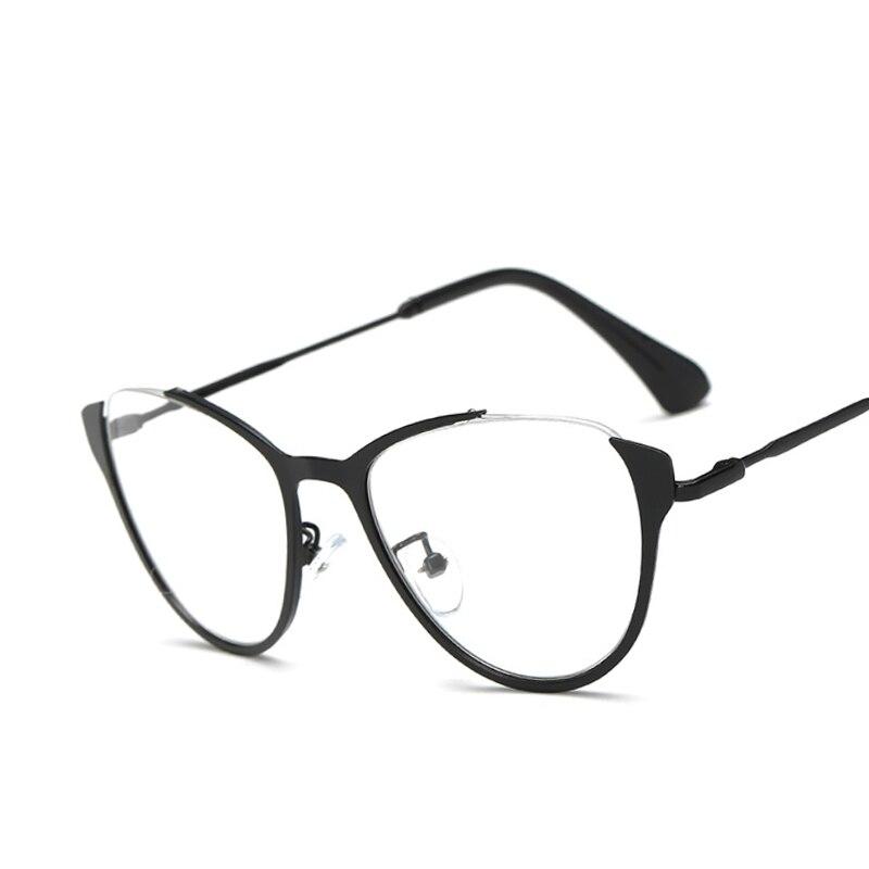 New Cat Eye Eyeglasses Frames Women Men Optical Metal Half Frame ...