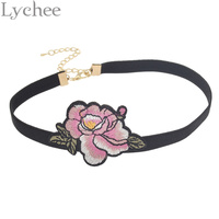 Lychee Bohemian Style Floral Embroidery Choker Necklace Spring Flower Ribbon Choker Collar Necklace Jewelry for Women