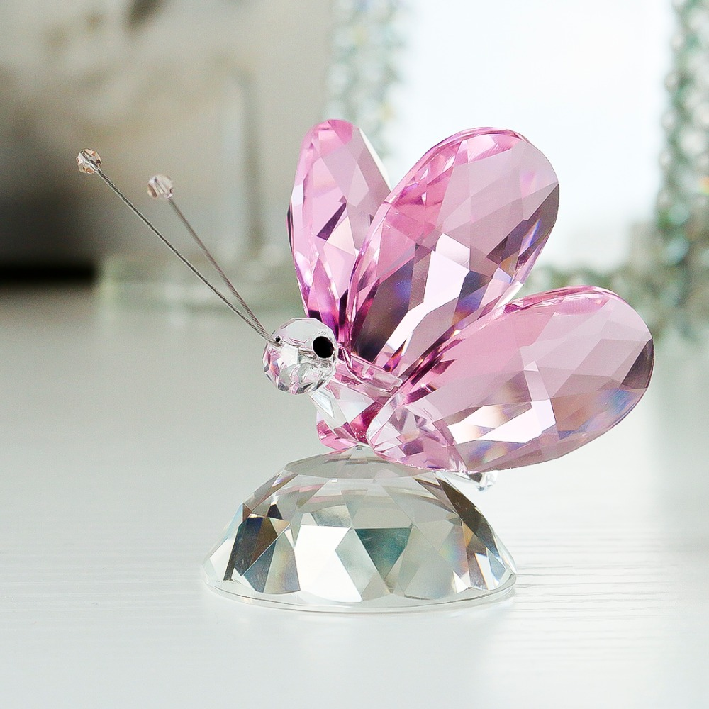 H&D 20pcs Unique X\'mas Gifts Crystal Pink Butterfly Figurine 2.4 ...