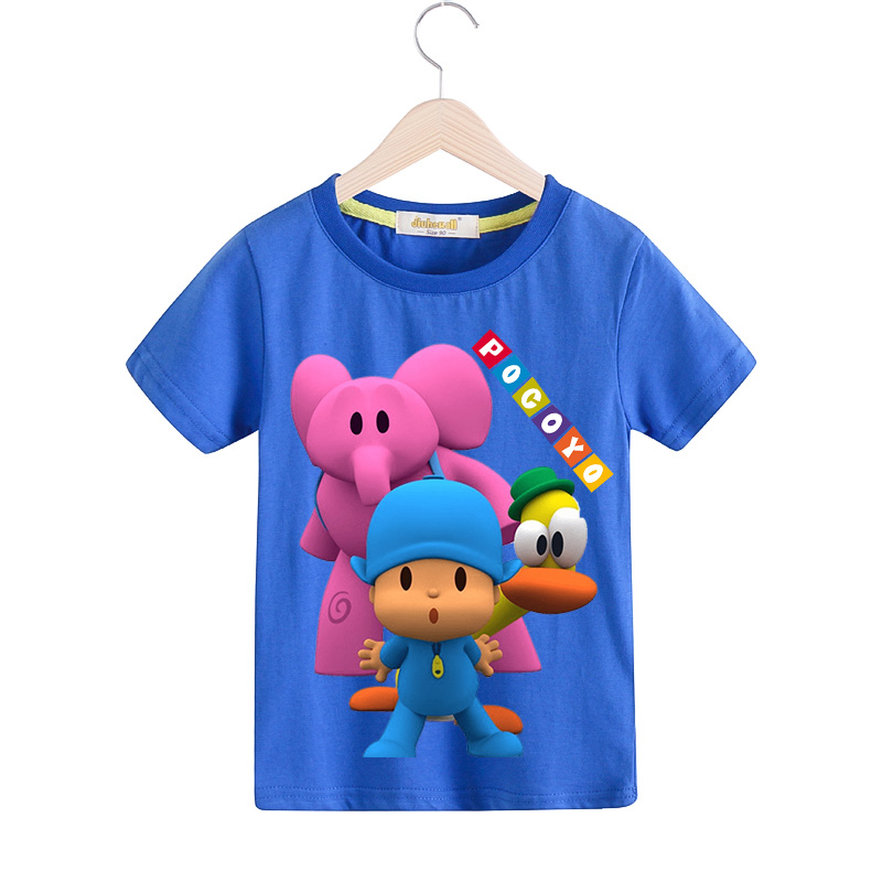 Baby Summer 100%Cotton 3D Cartoon Pocoyo T Shirt For Kids Fashion Costume Boy Girls Clothing Children Tee Tops Clothes TX077 children short sleeve t shirt for boy summer white clothes girls blue t shirt clothing baby lovely pocoyo print costume tx079