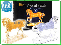 New 2014 Horse Puzzle 3d Jigsaw Crystal 2 Color Model Building Kids Learning Educational Toys For