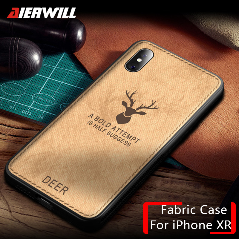 Luxury Cloth Case For iPhone XR case 2018 Deer Fabric ...