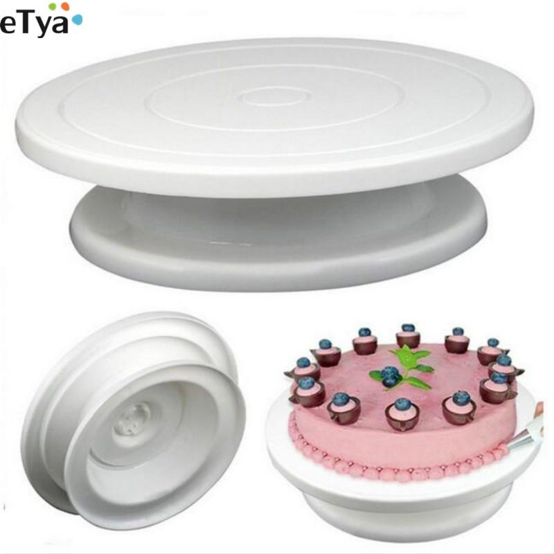 Food Grade Plastic Cake Turntable Cake Stand Mounted Revolving Rotating Circular Bake Cake Bed Baking Tools