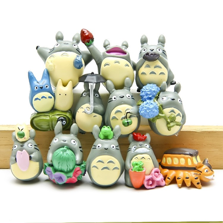 12pcs/set Cute Mini Cartoon TOTORO DIY Miniature japanese My neighbor Totoro figure gifts doll resin miniature figurines Toys