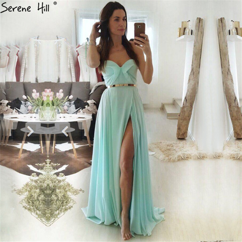 2019 Mint Simple Sexy A-Line Evening Dresses Off Shoulder Photography Chiffon Evening Gowns Serene Hill HA2223