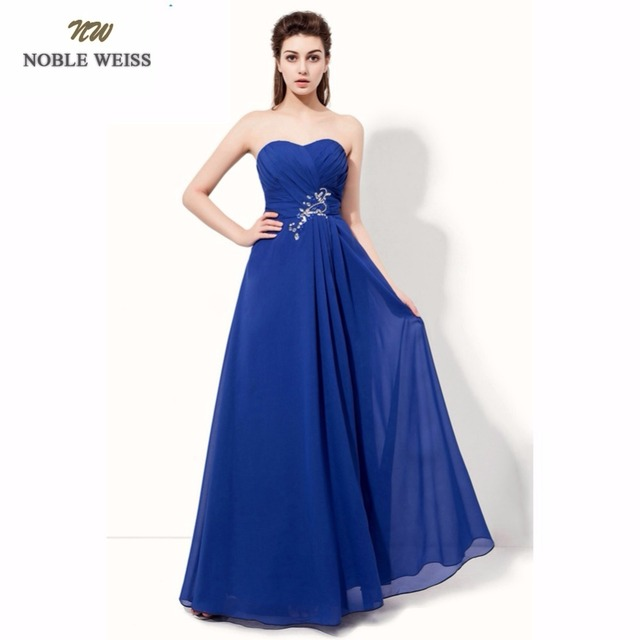 b0813b5ced8c46 NOBLE WEISS Evening Dresses Royal Blue A-line Pleat Beading Long Special  Occasion Dresses Custom Made Chiffon Formal Dresses