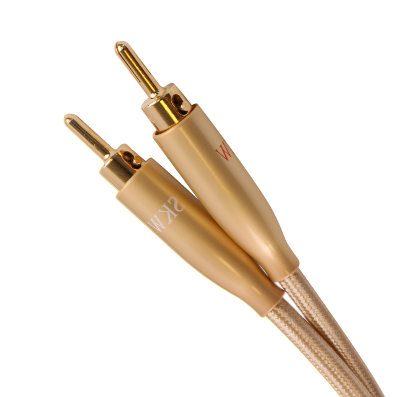 Skw BFA rca enthusiast home theater intubate 24k high end banana speaker cable audio wire quality OCC speaker cable gold plated mpsource tena hi end 99 99997% occ 24k gold plated banana speaker connector plug bi wire speaker audio cable amplifier 1 pair