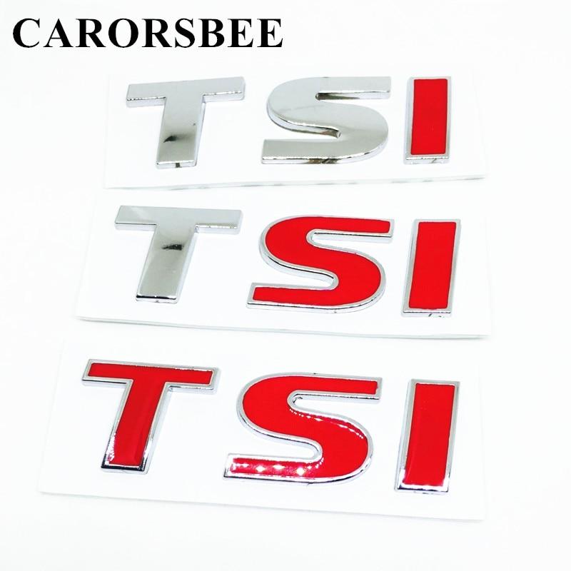 CARORSBEE 3D Metal TSI 1.8T 2.0T Tail Emblem Badge Car Sticker Decal For POLO Golf 4 7 passat B5 B6 T5 touran jetta MK4 MK5 MK7 golf 3 td 2011