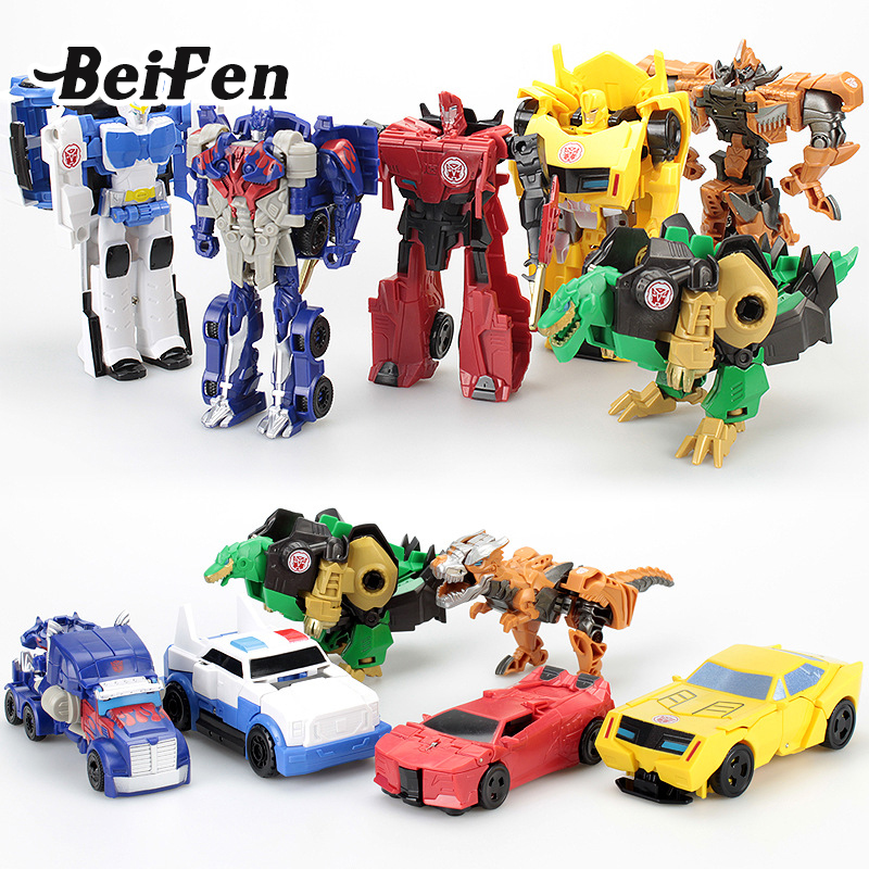 Bei Fen Anime Transformation Car Robot Action Figures Dinosaur Truck Police Car Model Toy Children Christmas Gift Brinquedos dinosaur transformation plastic robot car action figure fighting vehicle with sound and led light toy model gifts for boy