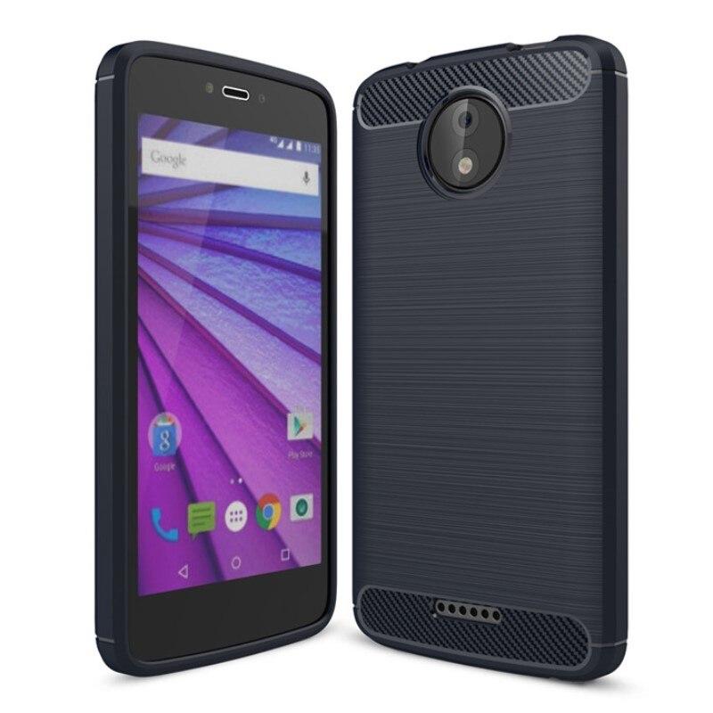 Per Motorola C Più Il Caso di Spazzolato In Fibra di Carbonio Della Copertura Posteriore di TPU Per Moto C Plus Antiurto In Silicone Coque MotoC