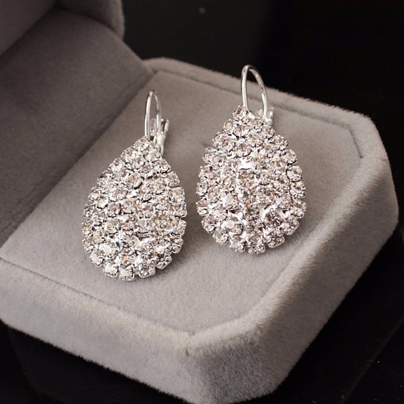2018 long fashion jewelry drop wedding earrings for brides popular rhinestone dress bald pates natural stone women earings