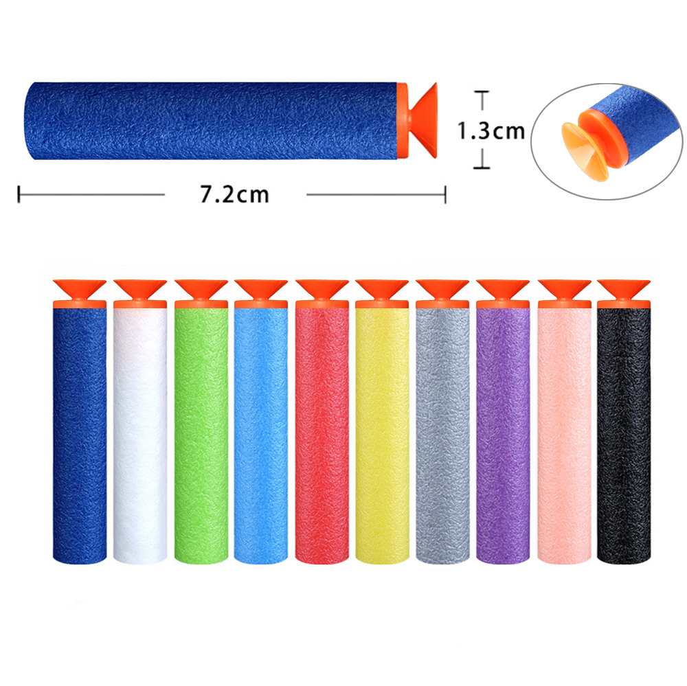 100PCS Sucker Bullets 7.2*1.3cm Refill Darts Toy Gun Foam EVA Bullet For Nerf Boy Childs Kid Gun Bullets