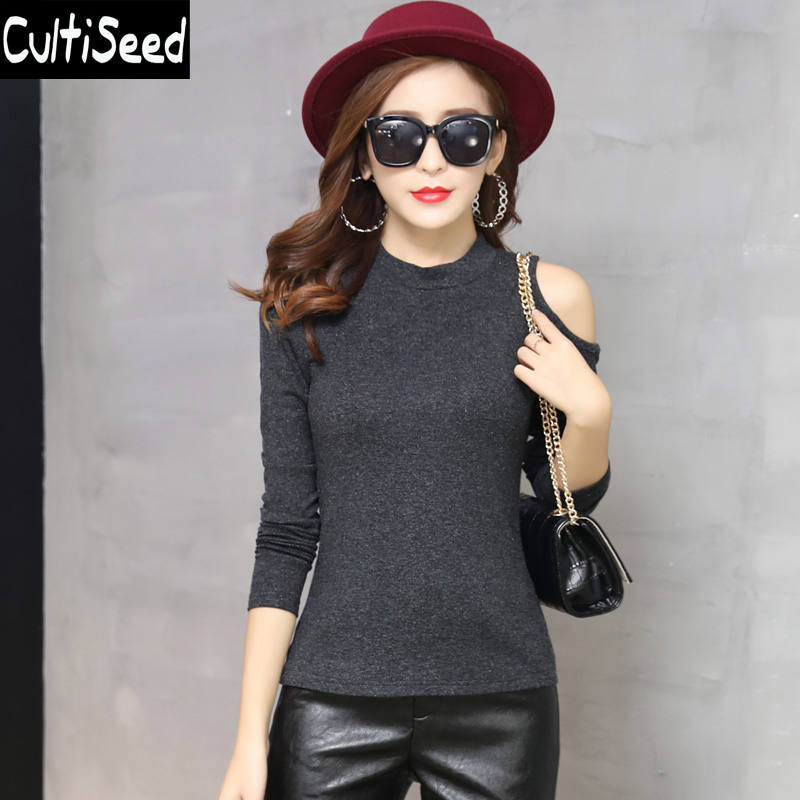 2018 Autumn and Winter Knitted Stretch Slim T-Shirt Tops Female Elegant Office Work Off the Shoulder Long Sleeve T-Shirt Tees