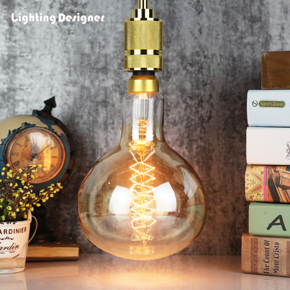 Grande taille R160 edosin ampoule vintage Edison ampoule spirale filament conception lampe à incandescence rétro lumière 120 V 220 V 60 watt