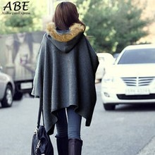 Hot! Korean Style Winter Coat Ponchos Capes jacket Hooded Batwing Wool Fur Shawl Outerwear Fur Women Coat