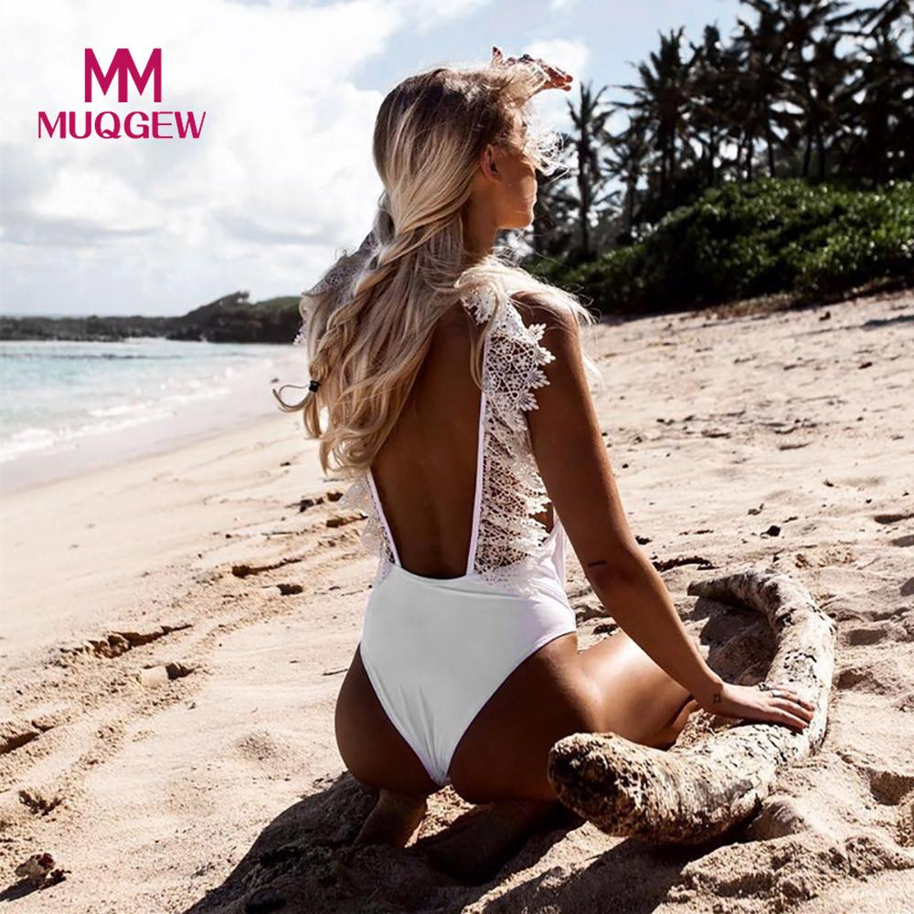 MUQGEW 1 One Piece Swimsuit Sexy Swim Suit Women Swimwear Bikini Swim Wear VNeck Lace Bathing Suit Biquini Maillot De Bain Femme