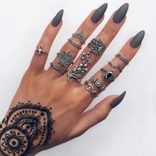 12 Pcs/ Set Bohemian Lotus Leaf Cross Waves Fatima Eye Gem Silver Joint Ring Women Charm Party Dress Ornament Gift