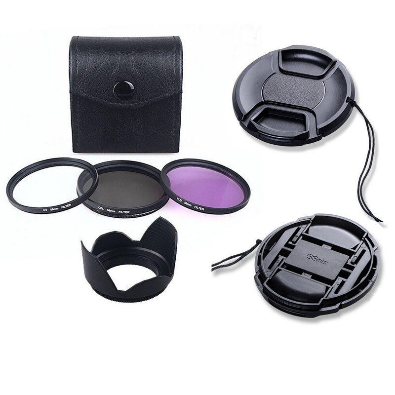 100% Professional 55mm uv cpl fld Filter Lens Hood & Cap Camera cleaning kit for nikon canon 2