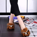 Autumn and winter flats women super large rabbit fur bow leopard print flats female Moccasins plush shoes add velvet Moccasins
