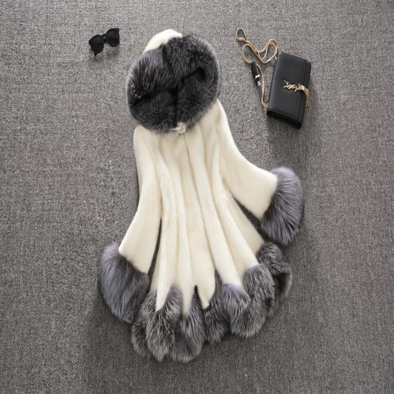 Plus À Capuchon D'hiver Fourrure Blanc noir Manteau Vison De Taille Col Moyen Imitation 6xl La Argent long Haute Femmes Tops S Renard z6v5Hq