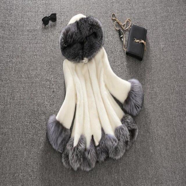 High Imitation Fur Coat Women Tops Silver Fox Fur Collar Hooded Mink Fur Coat Medium-long Overcoat Plus Size S-6XL Winter Coat