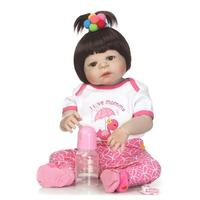 56cm Realistic Newborn Vinyl Reborn Lifelike Baby Doll Child Baby Silicone Girl Toys For Children With Magnetic Pacifier Girl