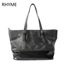 RHYME Black and Pink Casual Top-Handle Women Tote Message Bags Solid Soft Pu Leather Shoulder Bags Shopping Traveling Handbags