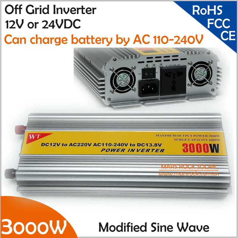 цена на 3000W 12V or 24V DC to AC 220V off grid modified sine wave inverter with AC 110V-240V grid charger for battery