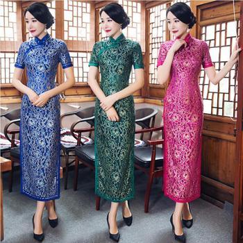 Vintage Shanghai story  tang suit Chinese Traditional Womens Qipao long elegant Cheongsam Dress Chinese-style Summer cheongsam