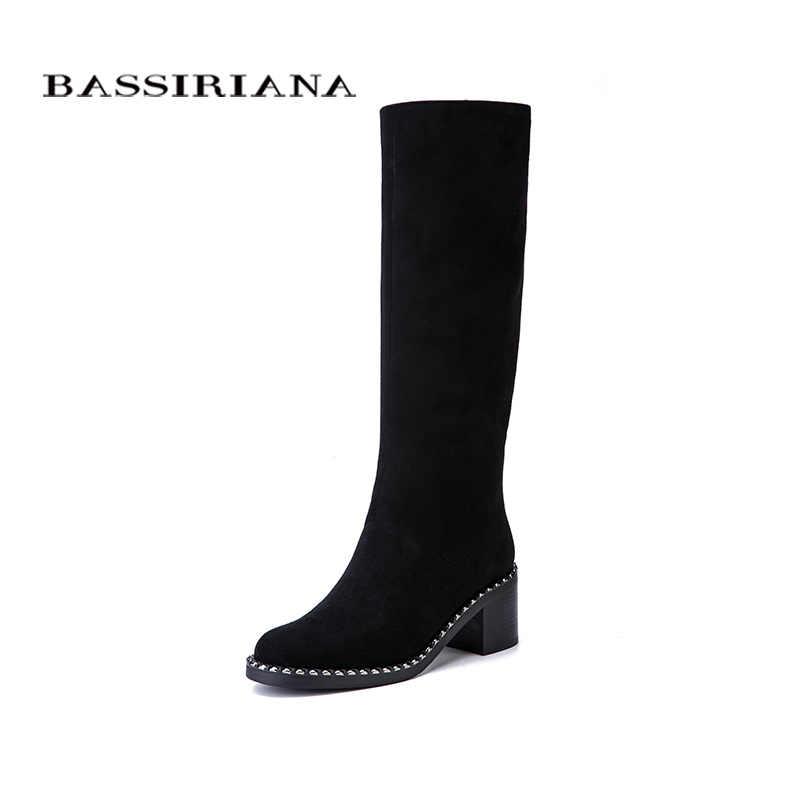BASSIRIANA Yeni 2017 Kış yüksek Çizmeler ayakkabı kadın yüksek topuklu yuvarlak ayak fermuar hakiki deri ve süet siyah 35- 40 boyutu