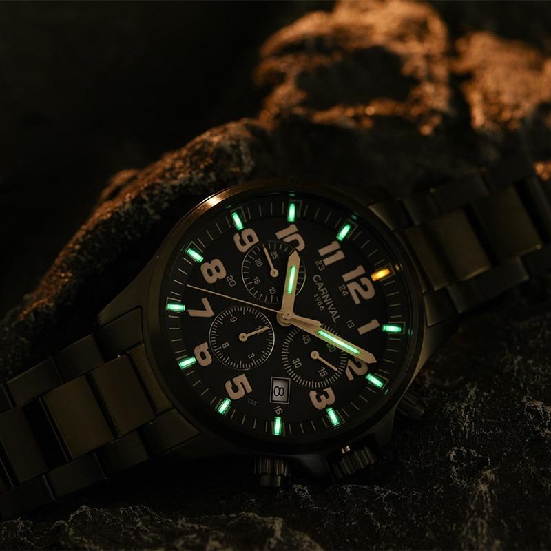 Top merk luxe SwitzerlandRonda Chronograaf stop watch mannen T25 tritium lichtgevende quartz mannen horloges klok volledige staal waterdicht-in Quartz Horloges van Horloges op  Groep 2