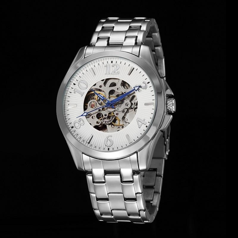 GOER brand mechanical Automatic male Wrist watch Skeleton leather men s watches Luminous digital waterproof black