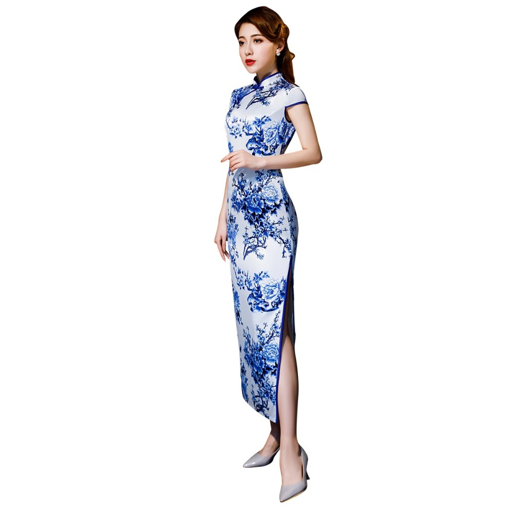 Shanghai Story Short Sleeve Qipao Long Chinese Dress Spring Cheongsam Blue And White Porcelain Print Qipao Dress For Woman
