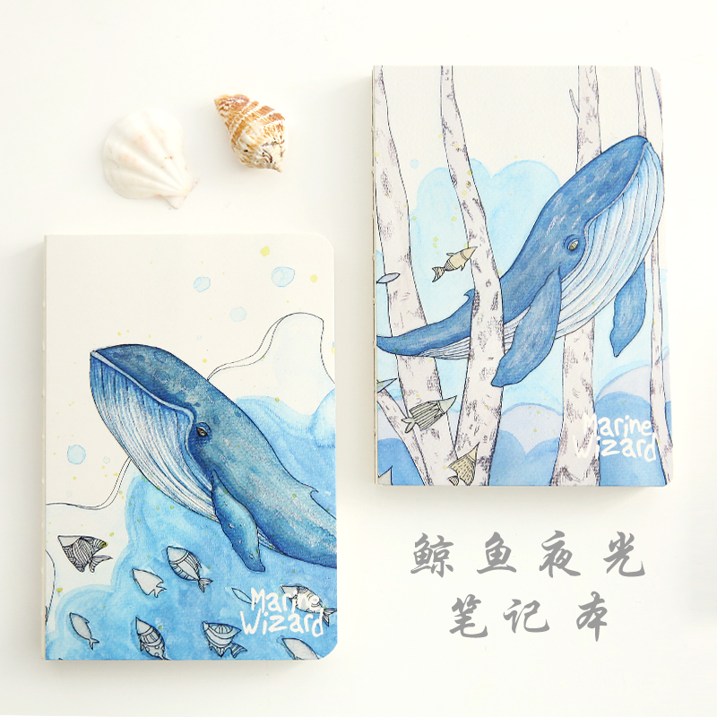 YMLP Whale Luminous Series Notebook Blank Page Sketchbook Notebook Notepad Diary 1PCS