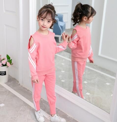 New Children Clothing Sets for Girls Spring Autumn Kids Sports Suits Teenage Girl Shirt + Pant 2 pcs Clothes Tracksuits 5 -12 Y
