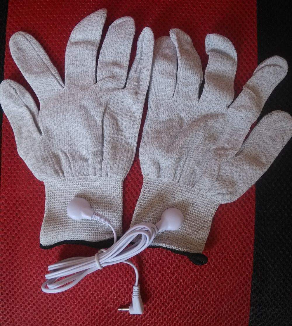 1 Pair Conductive Fiber Electrode Massage TENS Gloves With DC 2.5 Electrode Lead Wire Use For TENS/EMS Unit